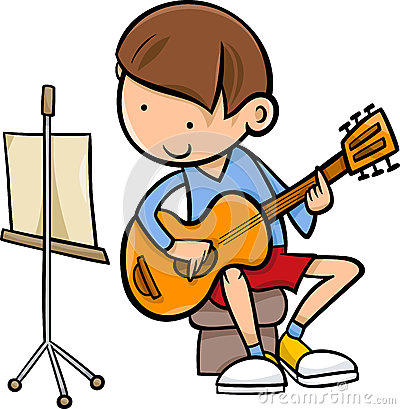 Kids practice guitar clipart.