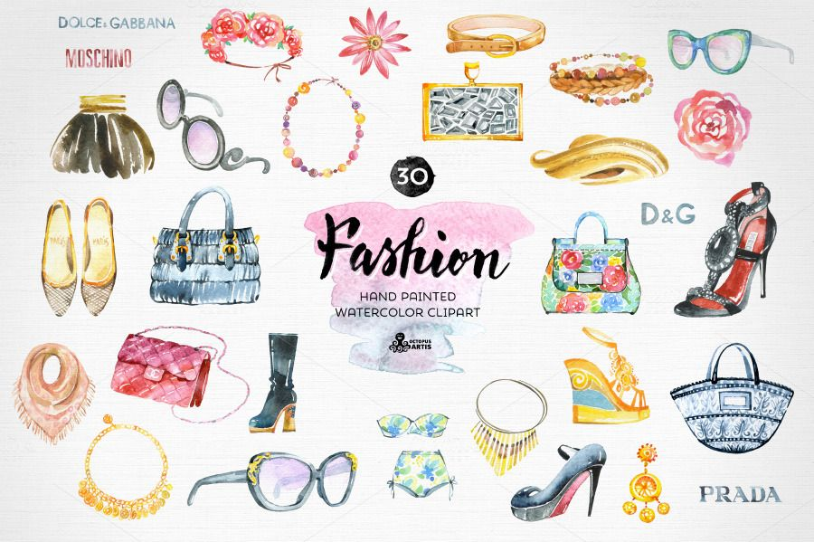 Fashion Watercolor Clipart by OctopusArtis on Creative.