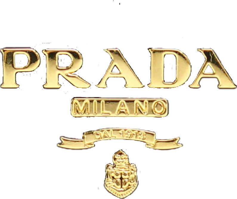 prada gold logo sticker remixit luxury png vintage.