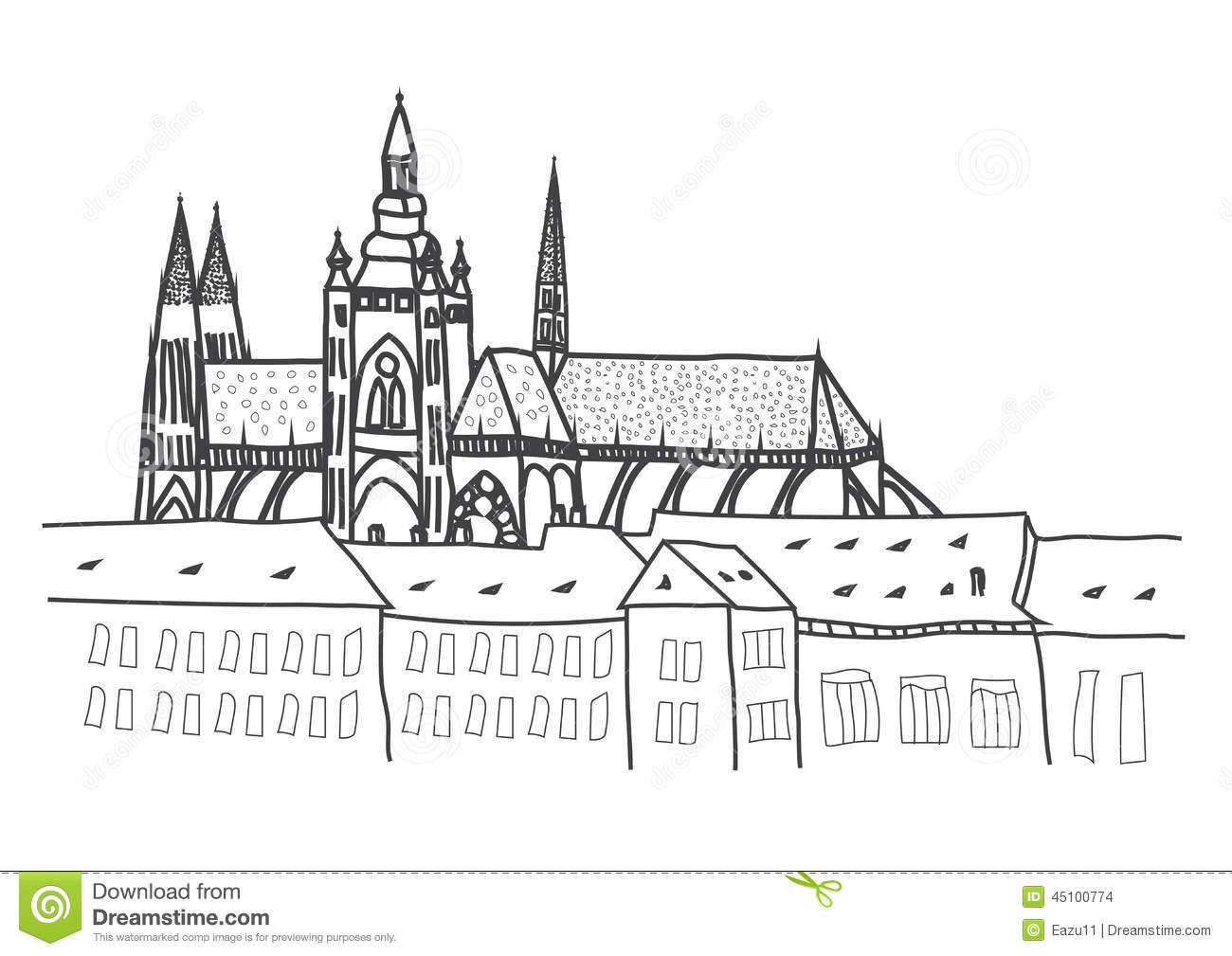 Prague Castle Drawing Stock Illustration.