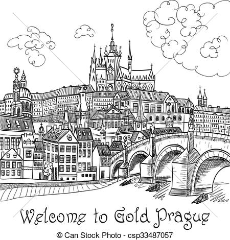Clipart Vector of Prague Castle and Charles Bridge.