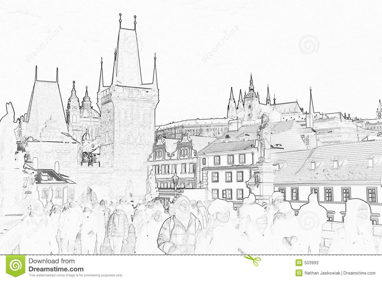 Prague Castle Sketch Stock Photos.