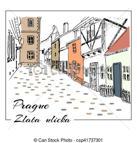 Vector Clipart of Prague. Colored hand drawn sketch illustration.