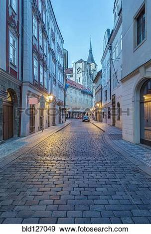 Stock Photograph of Cobblestone street at dawn, Prague, Czech.
