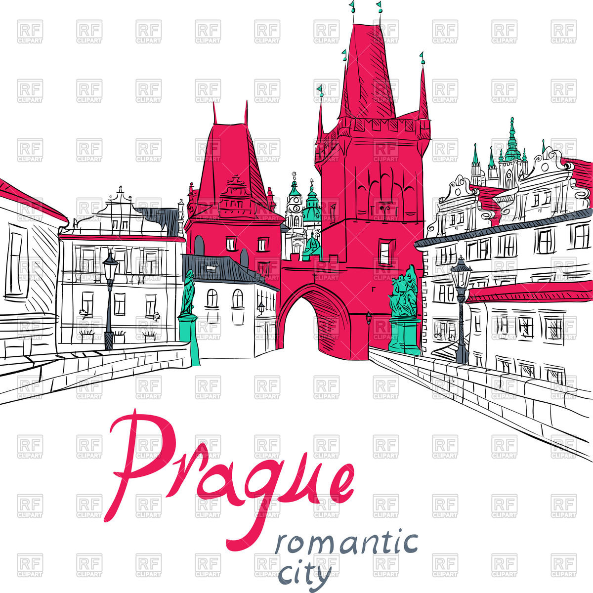 Cityscape with Charles Bridge in Prague Vector Image #46982.