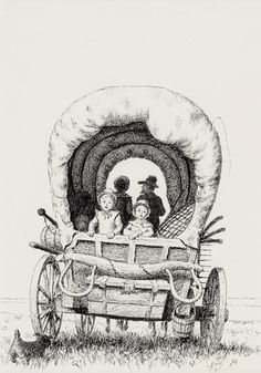 Pencil drawings of Wagons.