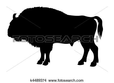 Clipart of vector silhouette of the buffalo k4489374.