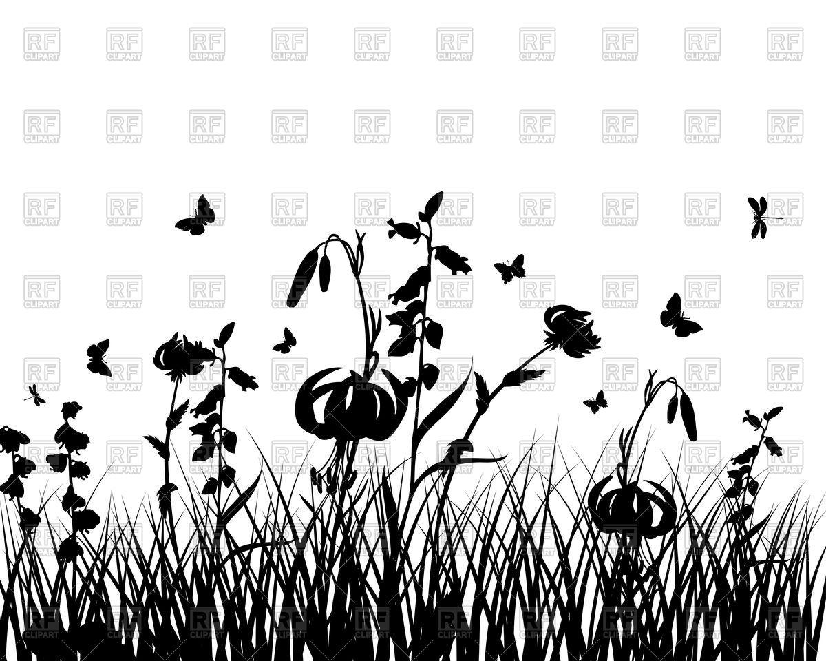 Wild prairie grass silhouette Vector Image #92702.