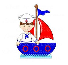 Sailor clip art, boat, baby boy, cute sailor, ahoy, baby shower.