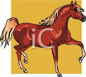 Cartoon of a Horse Prancing.