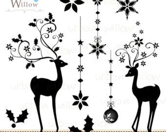 Reindeer Silhouette Clip Art Prancer Digital Clip Art.