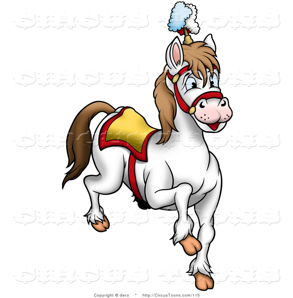 Circus Clipart of a White Circus Horse Prancing by dero.
