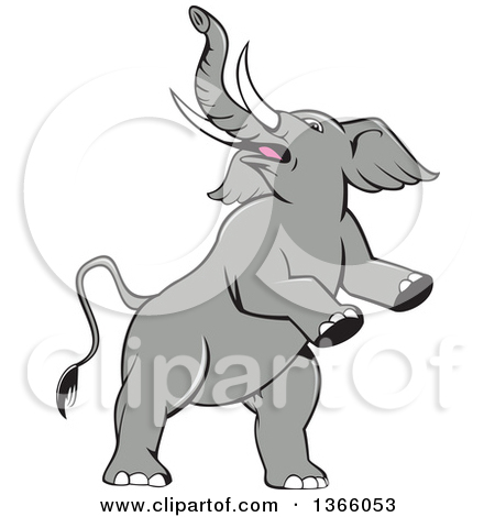Clipart of a Cartoon Prancing and Rearing Elephant.