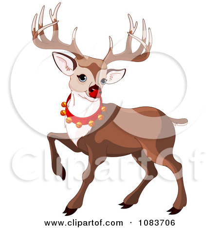 Clipart Rudolph Prancing And Wearing Bells.