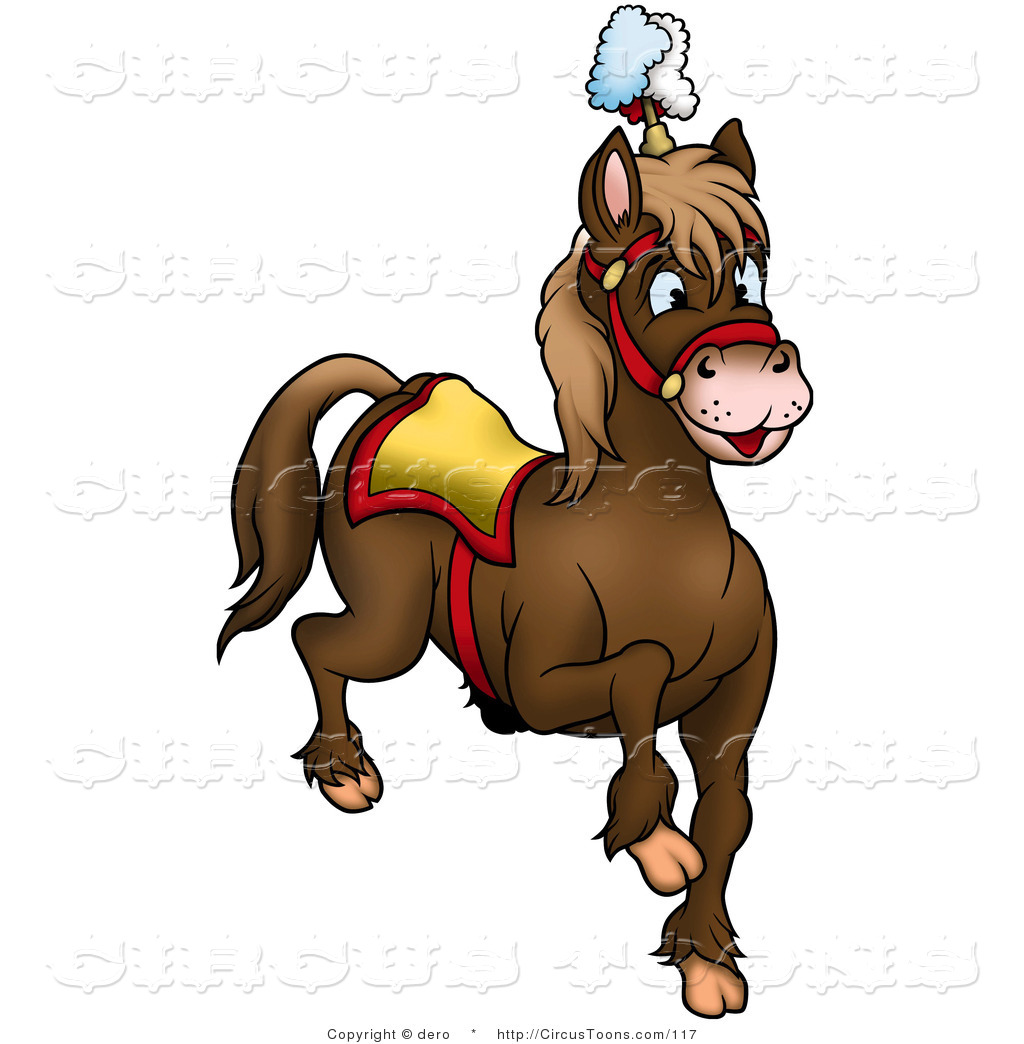 Circus Clipart of a Prancing Brown Circus Horse by dero.