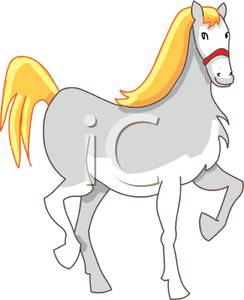 Prancing Gray Horse Clipart Image.