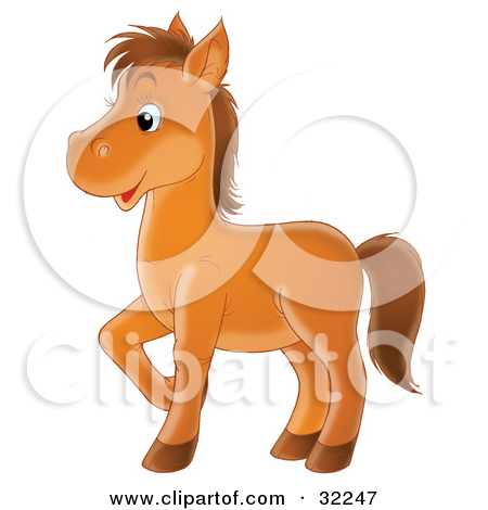 Clipart Illustration of a Happy Brown Pony Prancing To The Left by.
