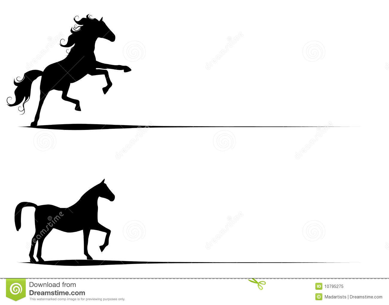 9 Horse Stallions Clip Art Stock Photo.