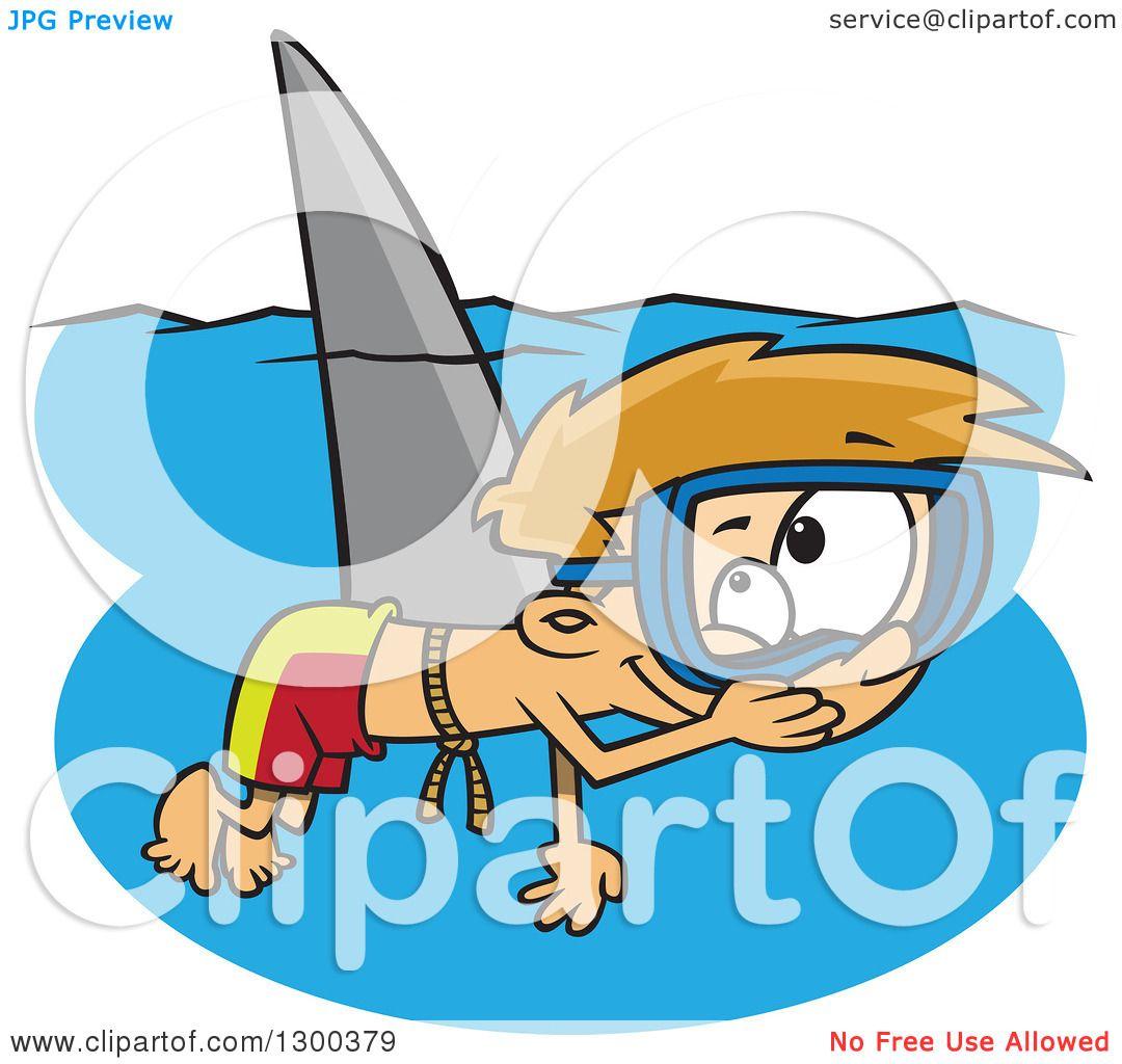 Clipart of a Cartoon Mischievous Blond White Boy Wearing a Shark.
