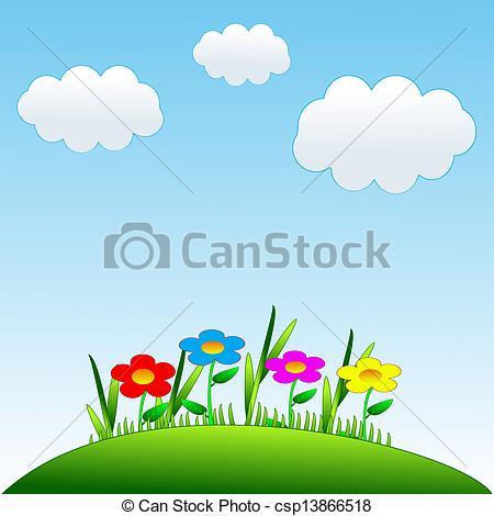 Clipart di disegnato, prato, fiori, verde, luminoso.