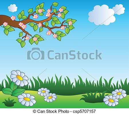 Vectors Illustration of Spring meadow with daisies.