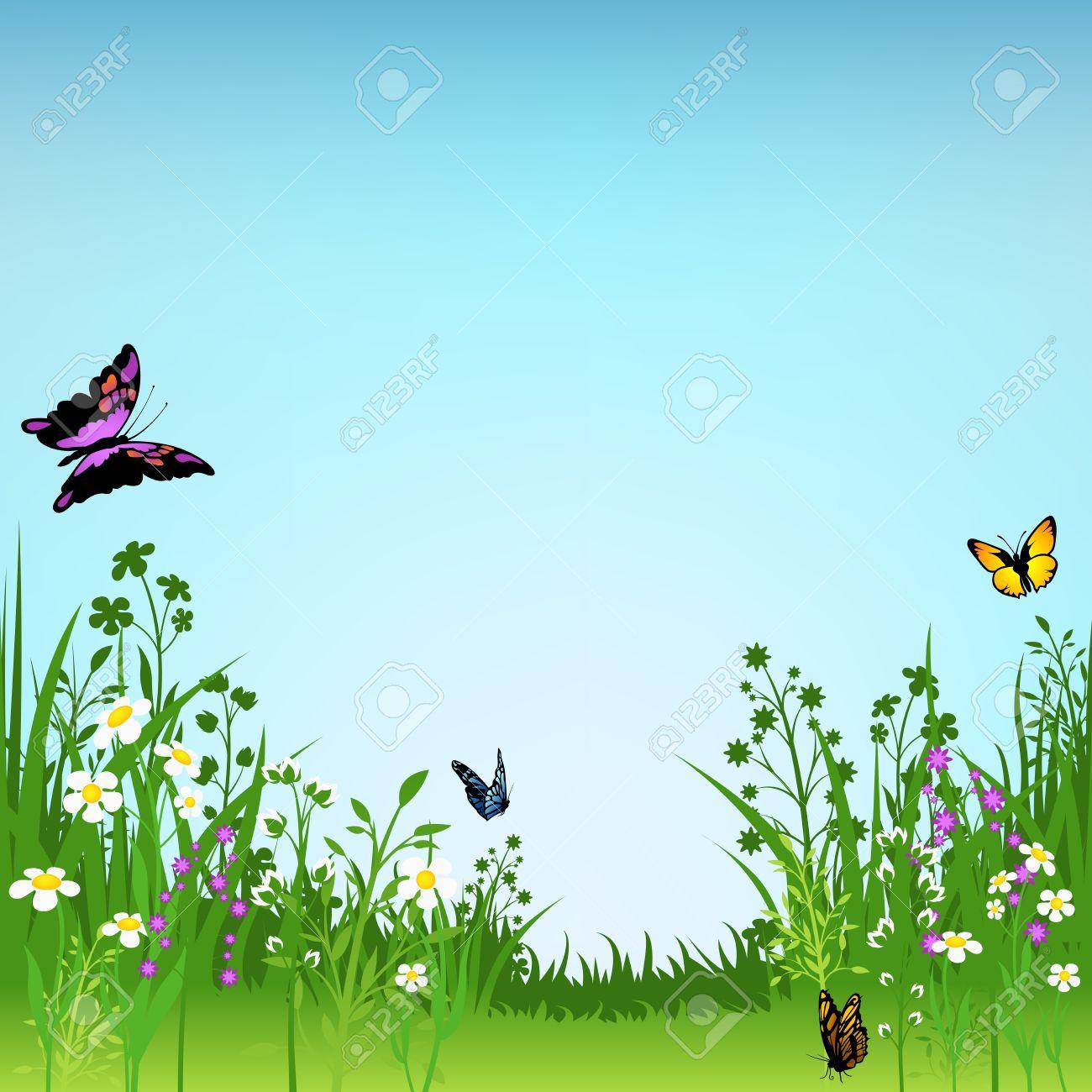 Fioritura Prato E Farfalle.