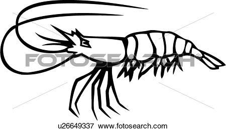 Clip Art of , fish, animal, ocean, prawn, shrimp, u26649337.