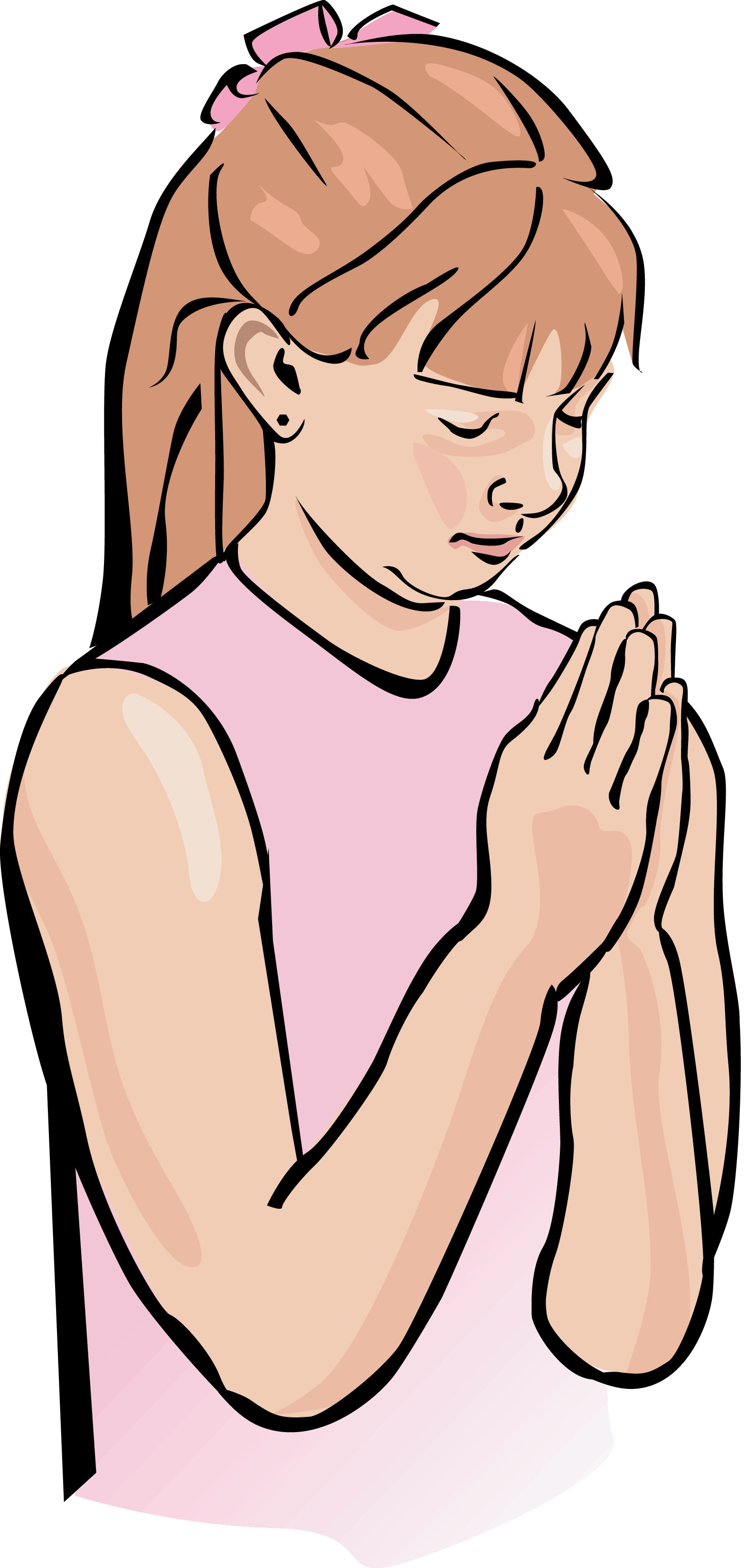 Children pray to god clipart.