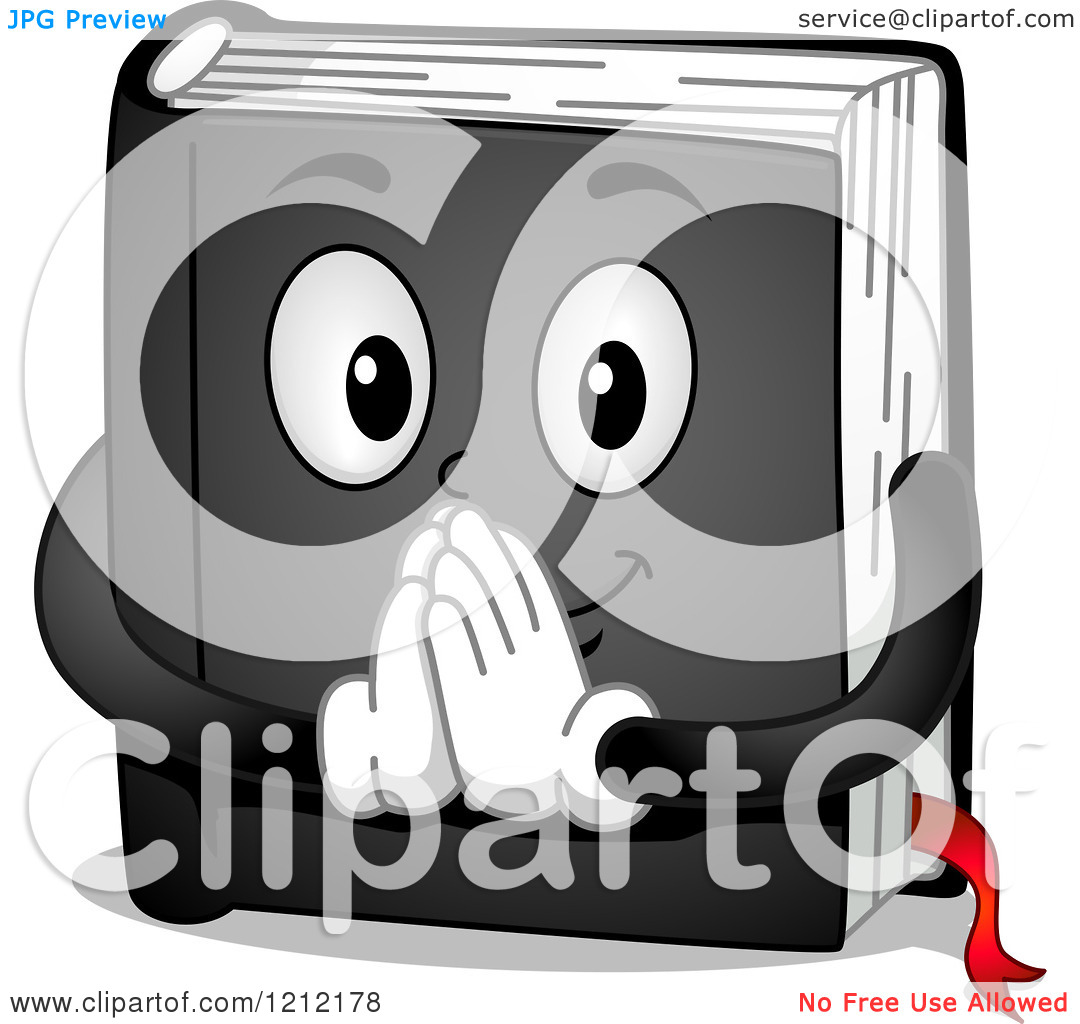 Cartoon of a Black Prayer Book Holding His Hands Together.