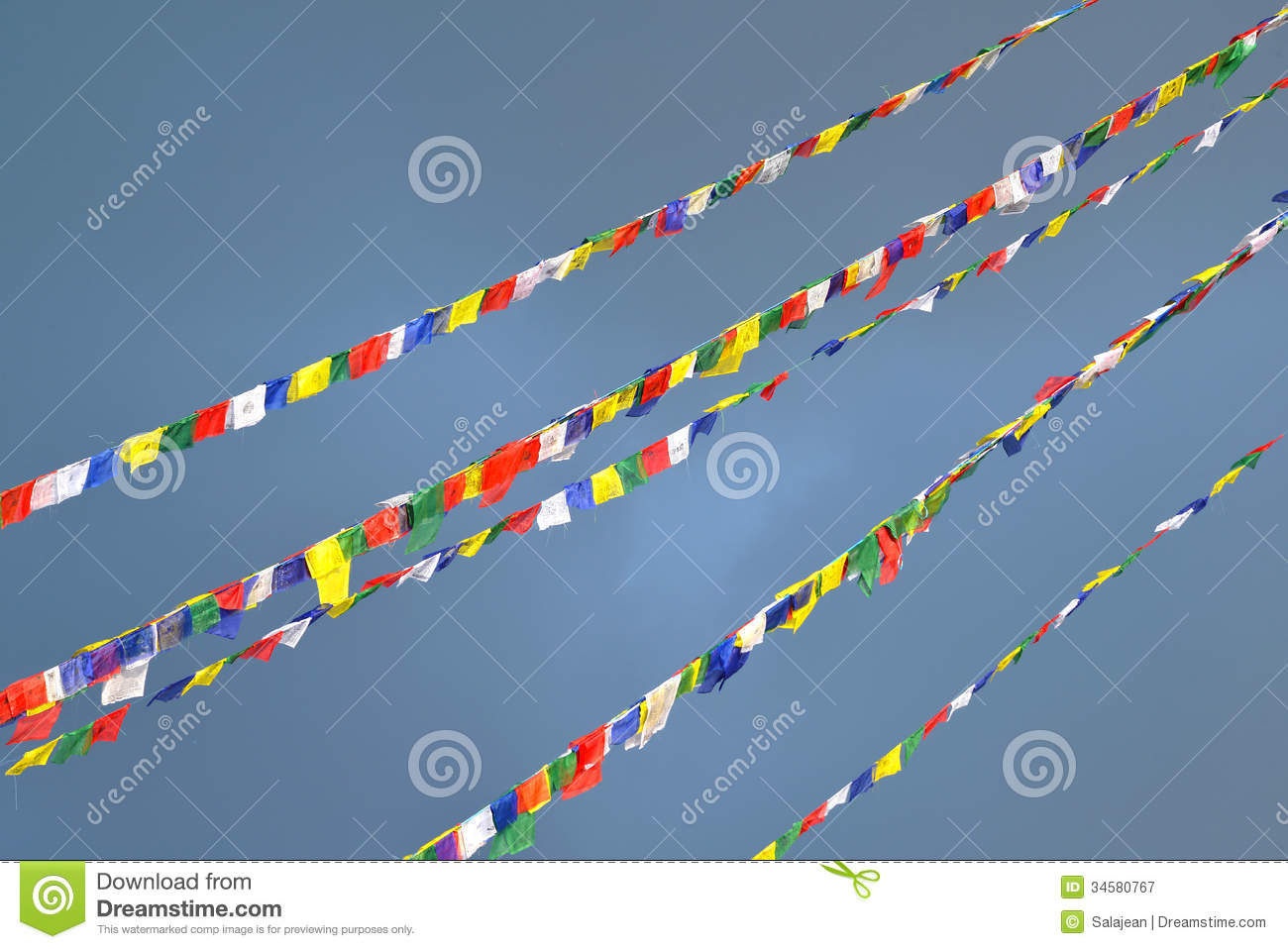 Tibetan prayer flags clipart.