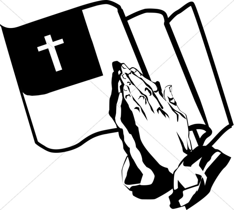 Praying Hands And The Christian Flag.