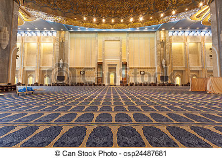 Pictures of Main prayer hall inside of the Grand Mosque in Kuwait.