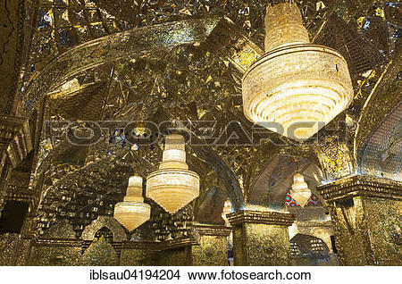 Stock Photo of Ceiling of the prayer hall with chandeliers, Shah.