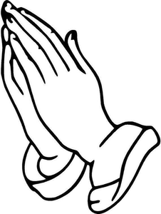 Black And White Praying Hands Clipart.