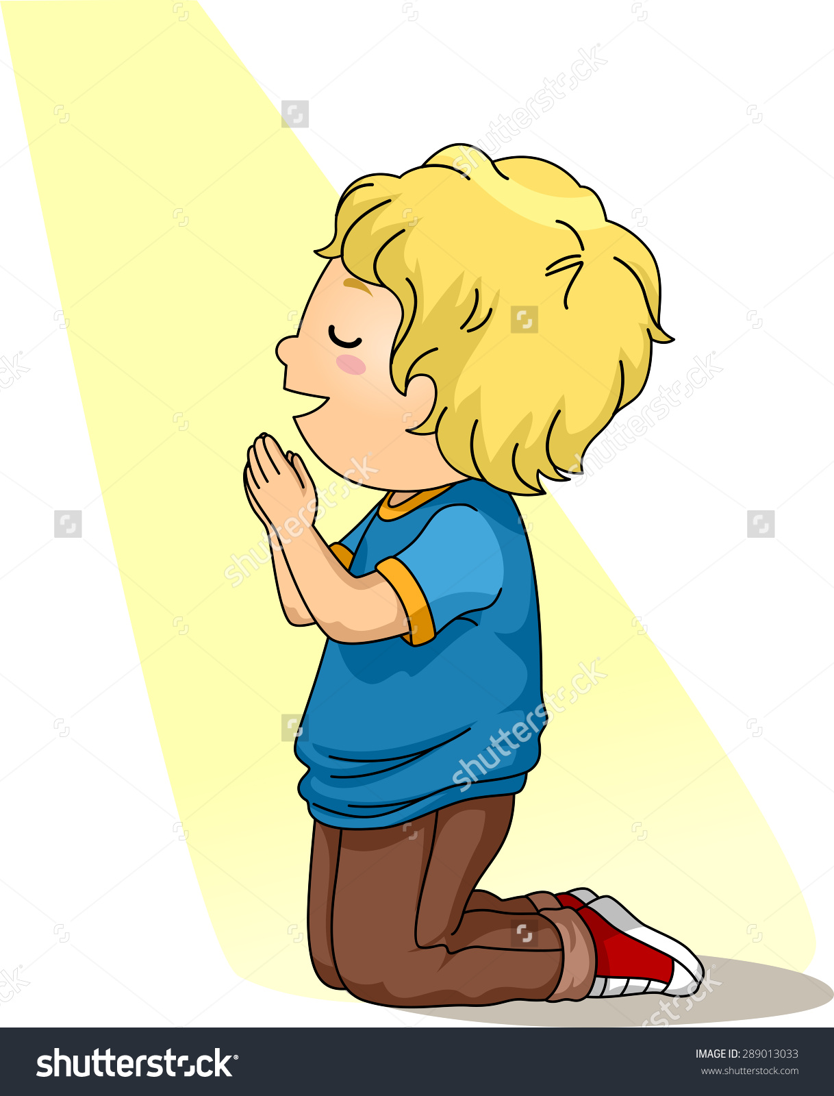 Illustration Little Boy Kneeling Down Prayer Stock Vector.