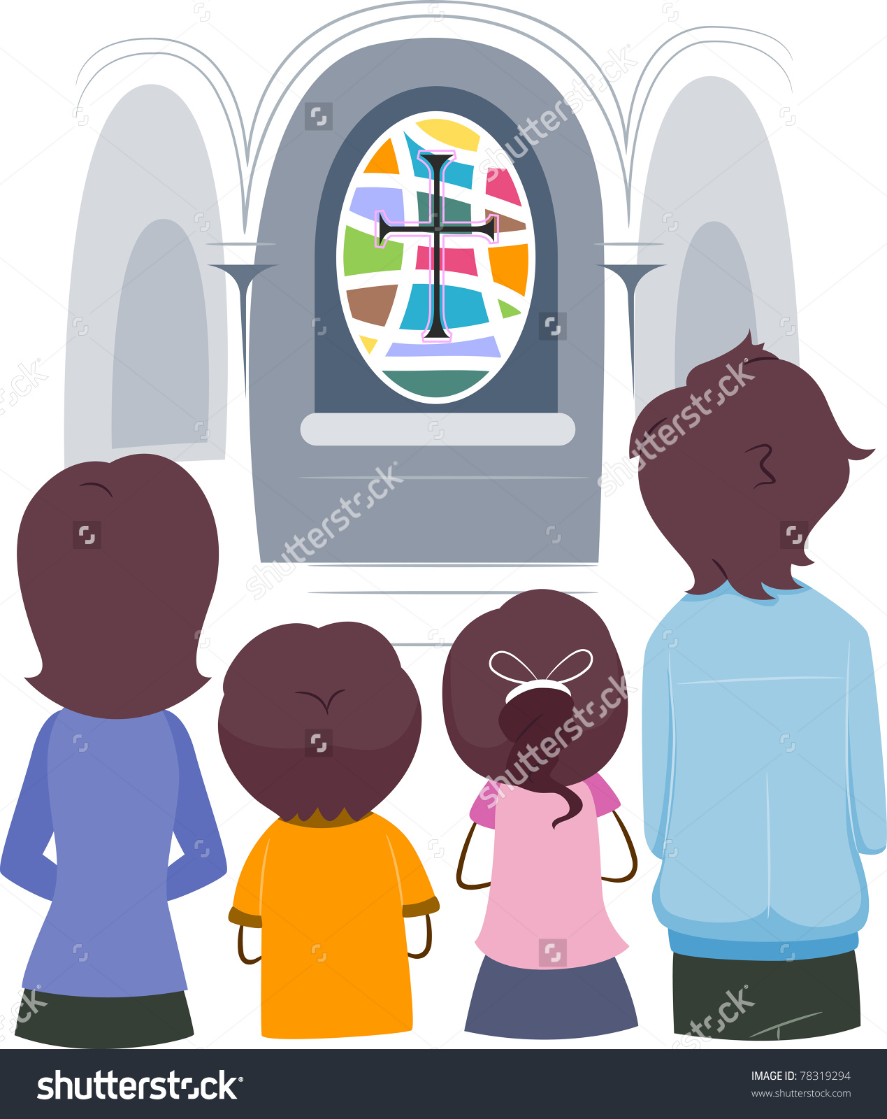Family praying in church clipart.