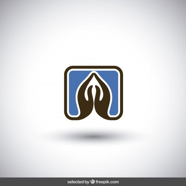 Praying hands logo Vector.