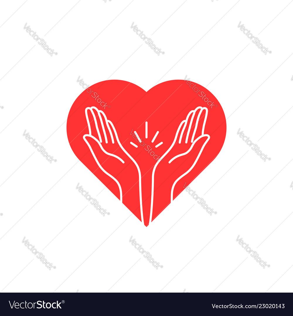 Prayer contour hands with heart logo.