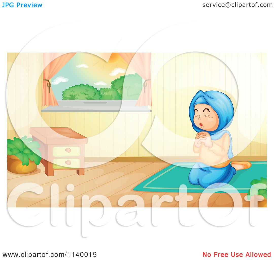 Cartoon Of A Muslim Girl Praying In A Room.