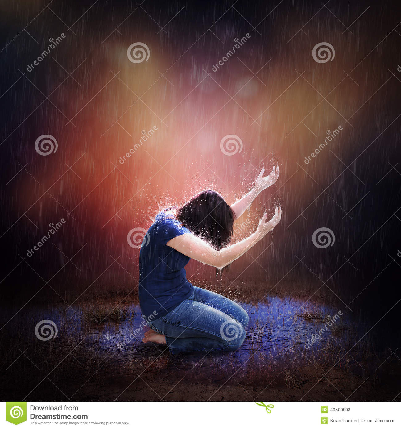 Rainstorm Prayer Stock Photo.