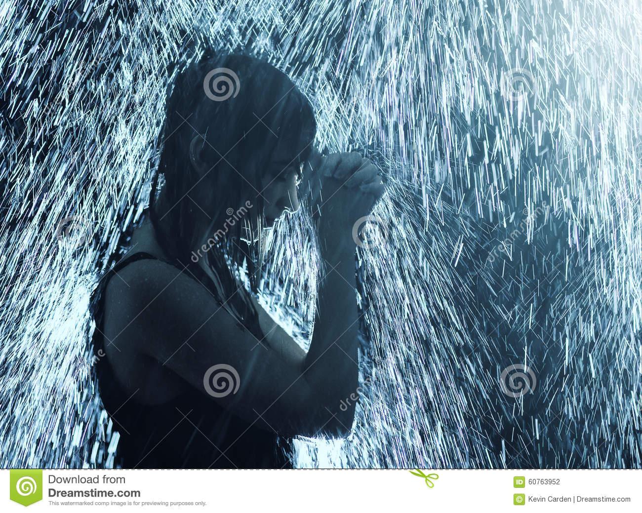 Praying For Rain Stock Photo.