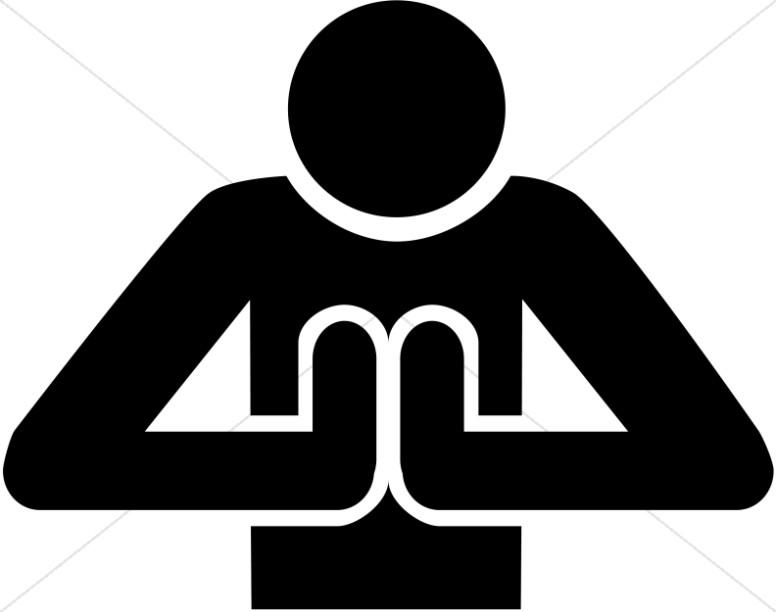 Praying Person Front View Symbol.