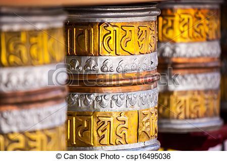 Stock Photos of Buddhist prayer wheels in Tibetan monastery with.
