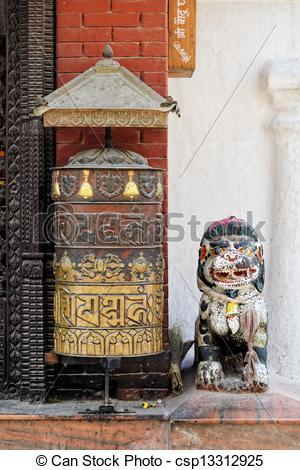 Clip Art of Prayer wheel at Bodhnath stupa in Kathmandu, Nepal.