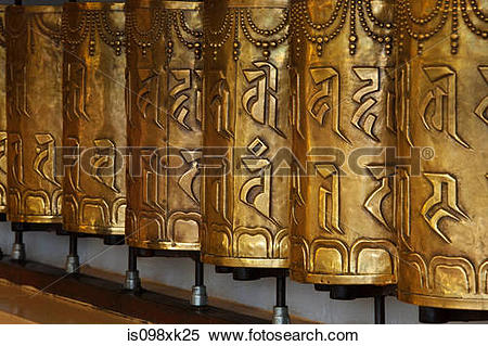 Stock Image of Buddhist prayer wheels, Tsuglagkhang, Mcleodganj.