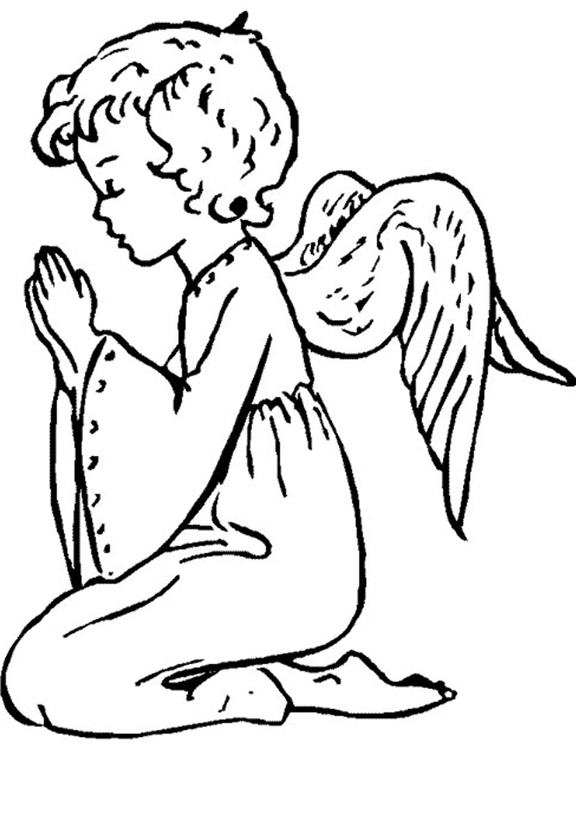 Christmas angel praying clipart.