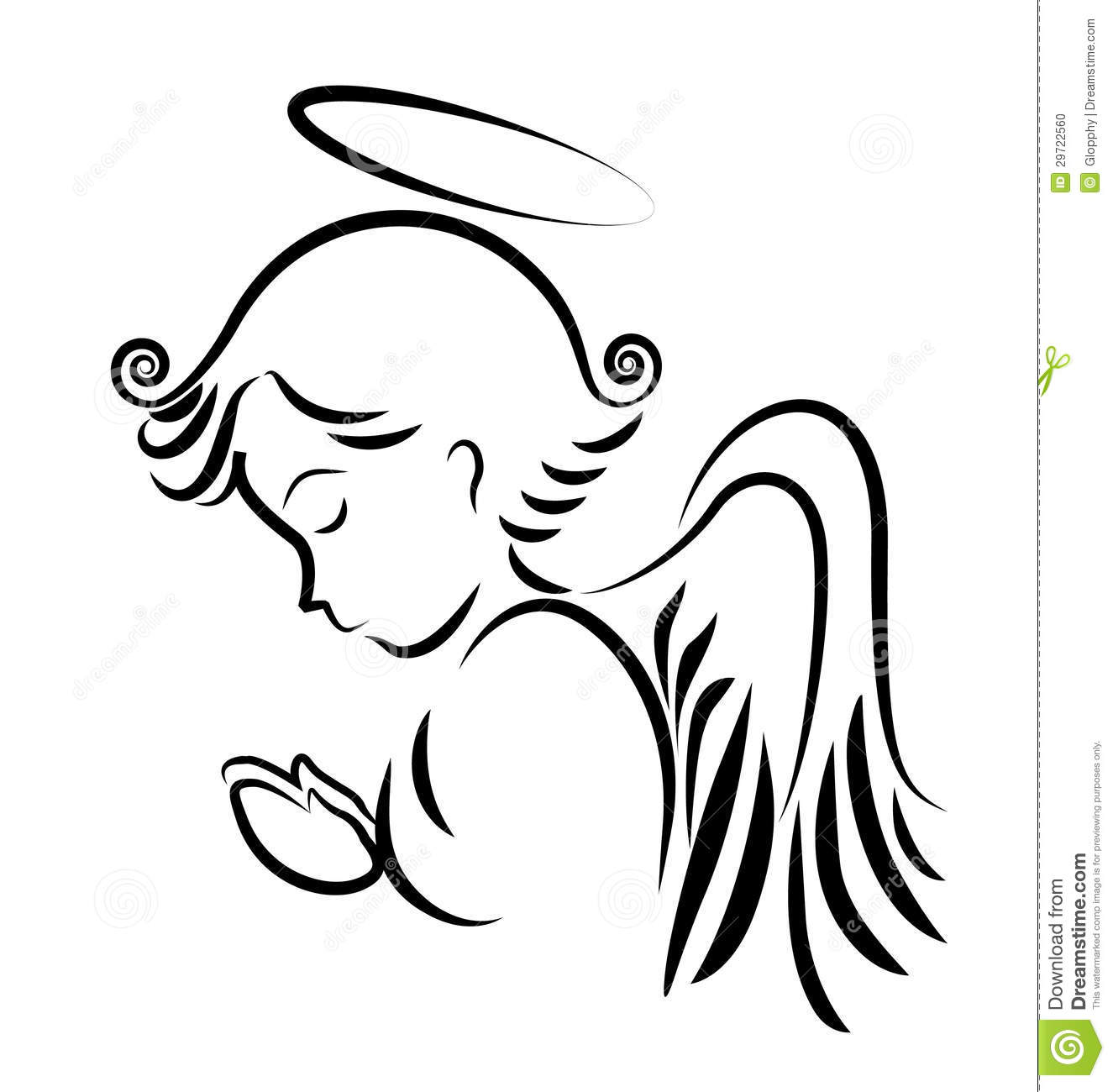 Praying Angel Clip Art.