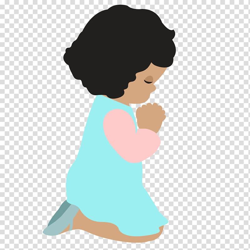 Kneeling girl , Praying Hands Christian childs prayer.