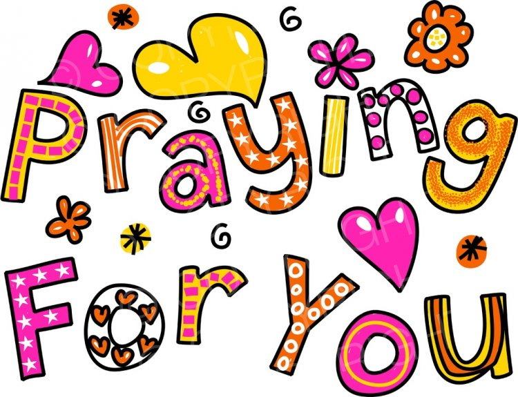 Praying For You Whimsical Decorative Cartoon Text Clipart.