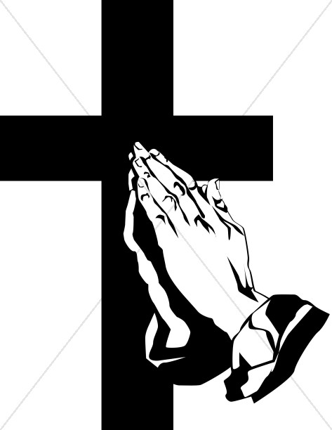 Praying Hands And The Cross.
